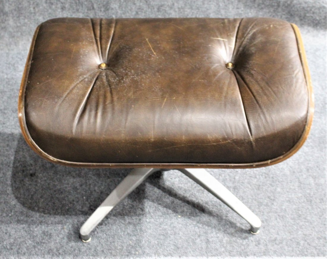 HERMAN MILLER - EAMES STYLE OTTOMAN BROWN LEATHER - 3