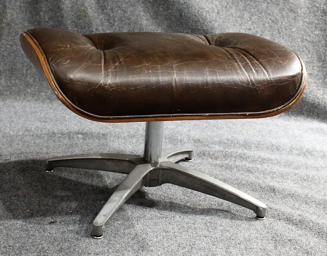 HERMAN MILLER - EAMES STYLE OTTOMAN BROWN LEATHER - 5