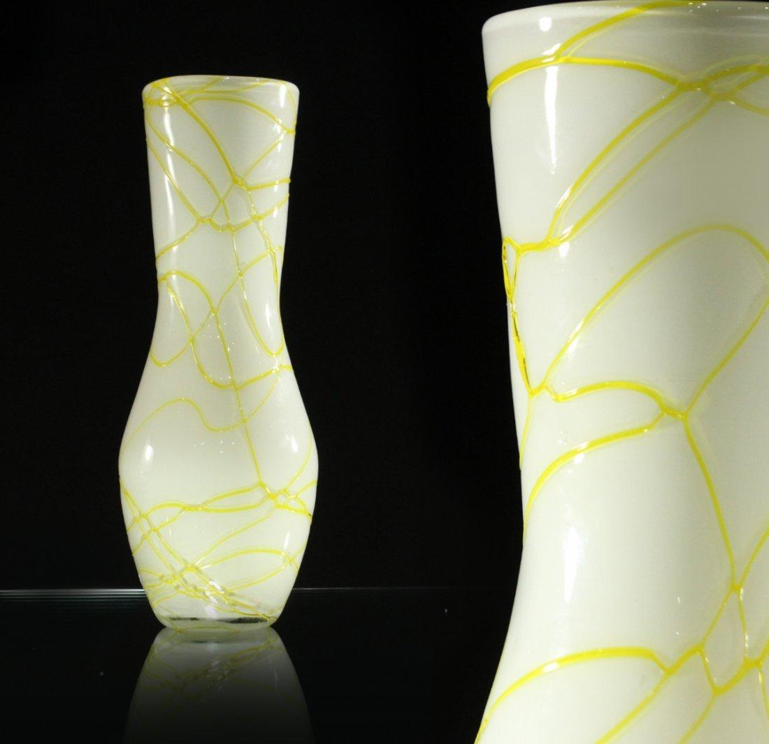 ITALIAN GLASS WHITE VASE With YELLOW THREAD WEBBING