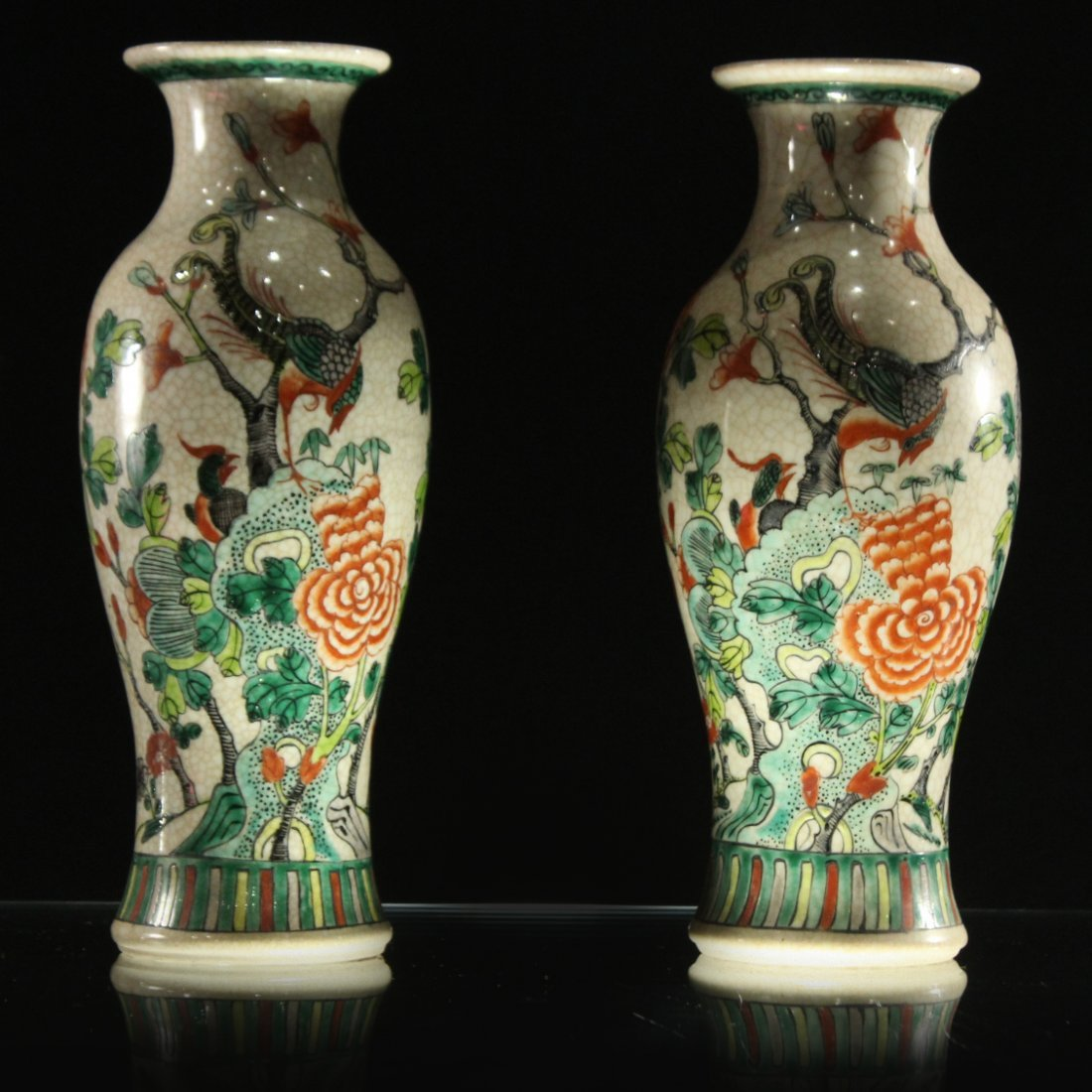 Pair 20th C. CHINESE PORCELAIN VASES Birds on Branches
