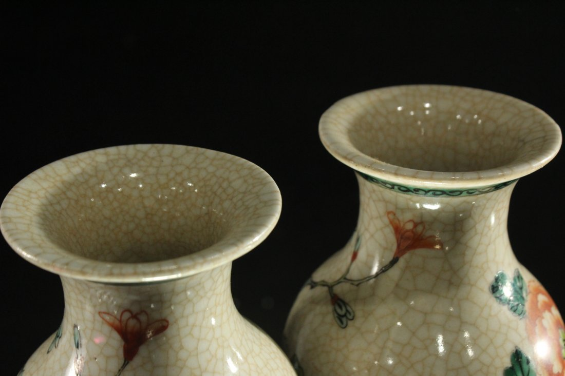 Pair 20th C. CHINESE PORCELAIN VASES Birds on Branches - 6