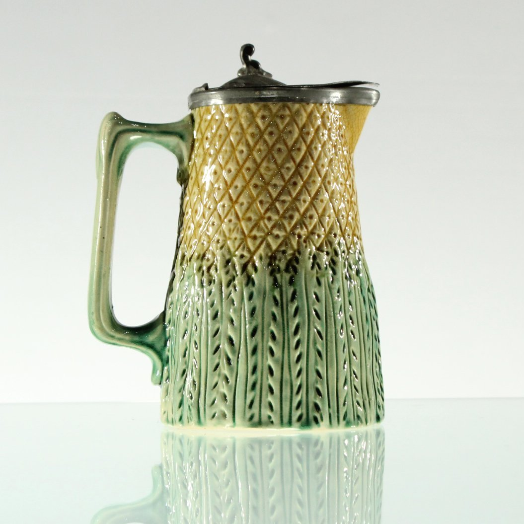 Unusual MAJOLICA PITCHER WITH PEWTER TOP