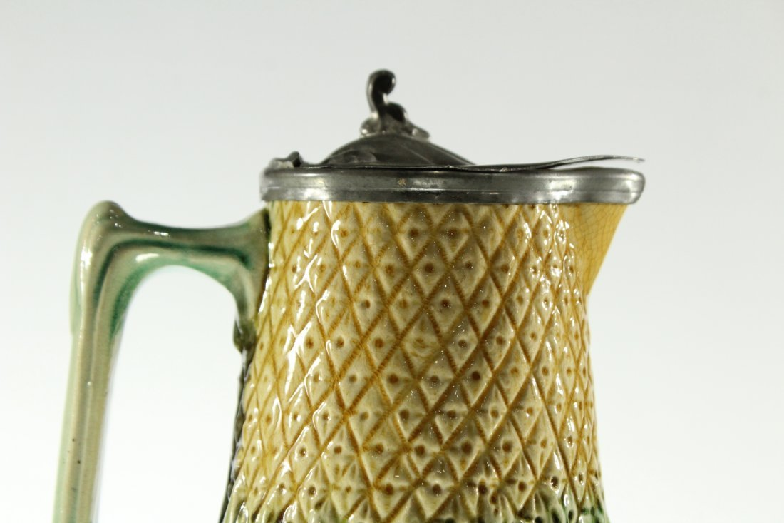 Unusual MAJOLICA PITCHER WITH PEWTER TOP - 2