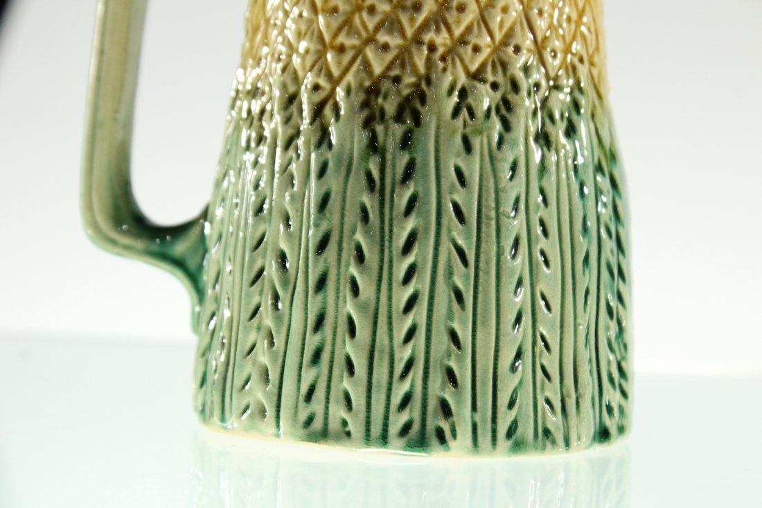 Unusual MAJOLICA PITCHER WITH PEWTER TOP - 3