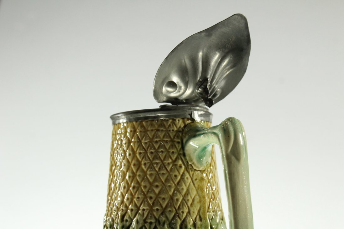Unusual MAJOLICA PITCHER WITH PEWTER TOP - 4