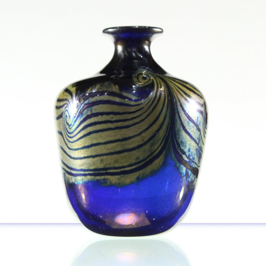 MICHAEL PAVLIK Studio Art Glass Vase Signed COBALT BLUE