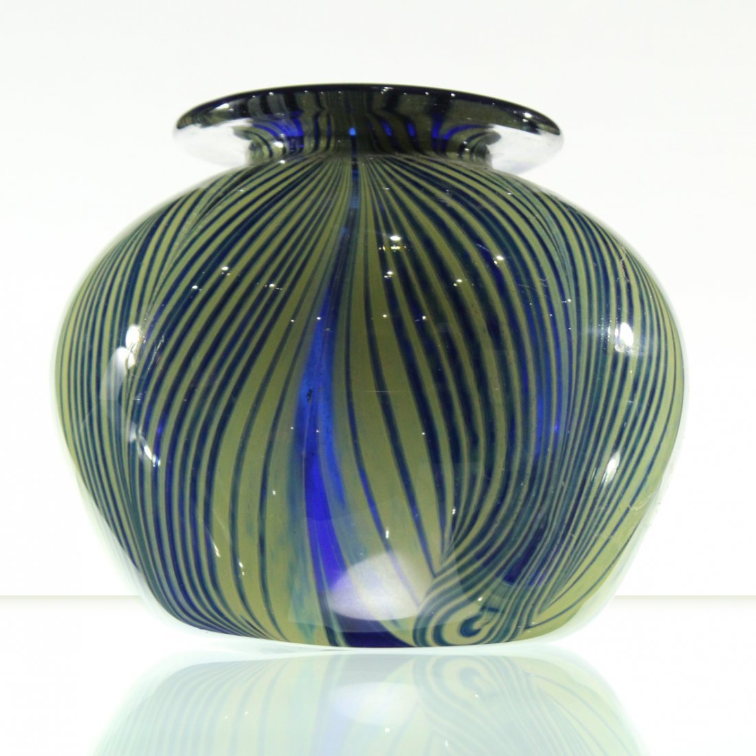 MICHAEL PAVLIK Studio Art Glass Vase Signed COBALT BLUE
