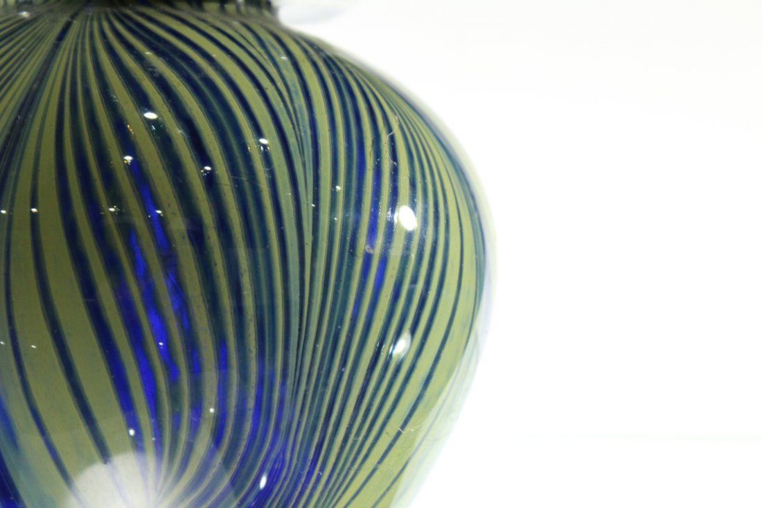MICHAEL PAVLIK Studio Art Glass Vase Signed COBALT BLUE - 3