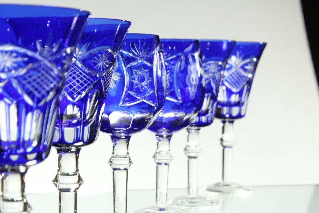 Six [6] COBALT BLUE CUT GLASS STEMWARE Set 4 and 2 - 3
