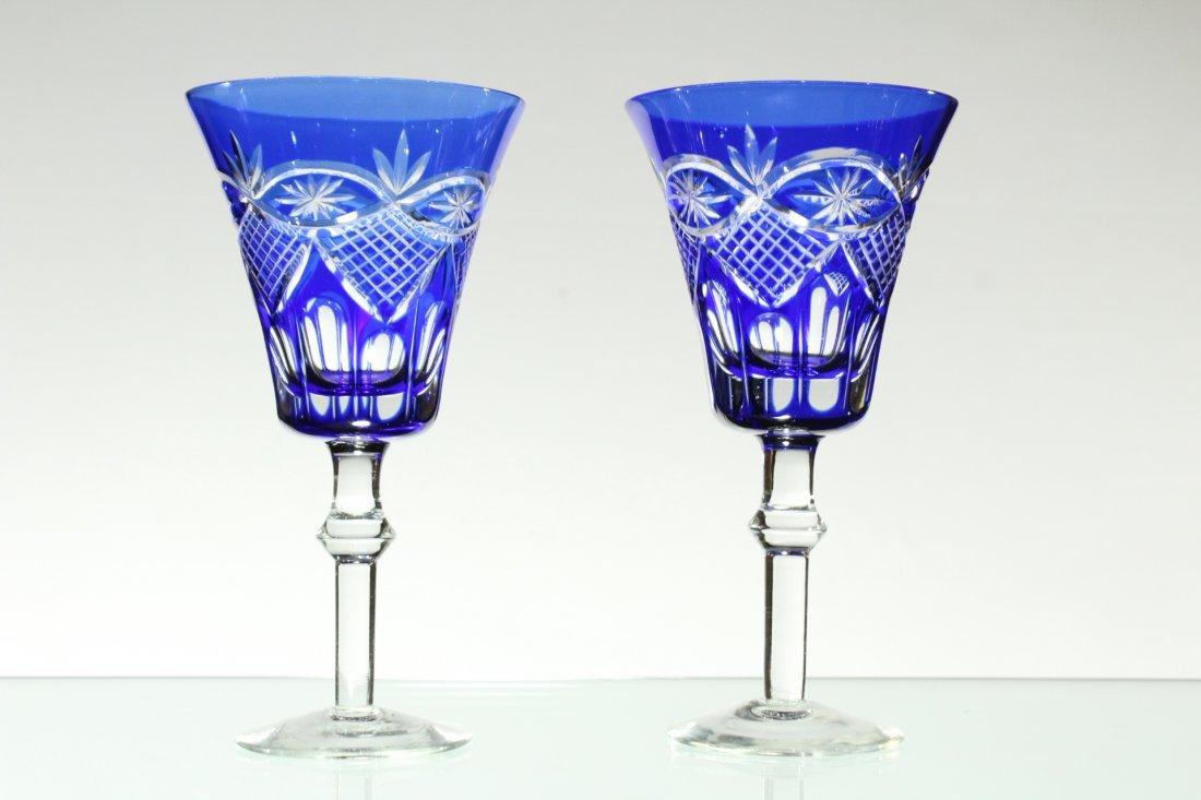 Six [6] COBALT BLUE CUT GLASS STEMWARE Set 4 and 2 - 4