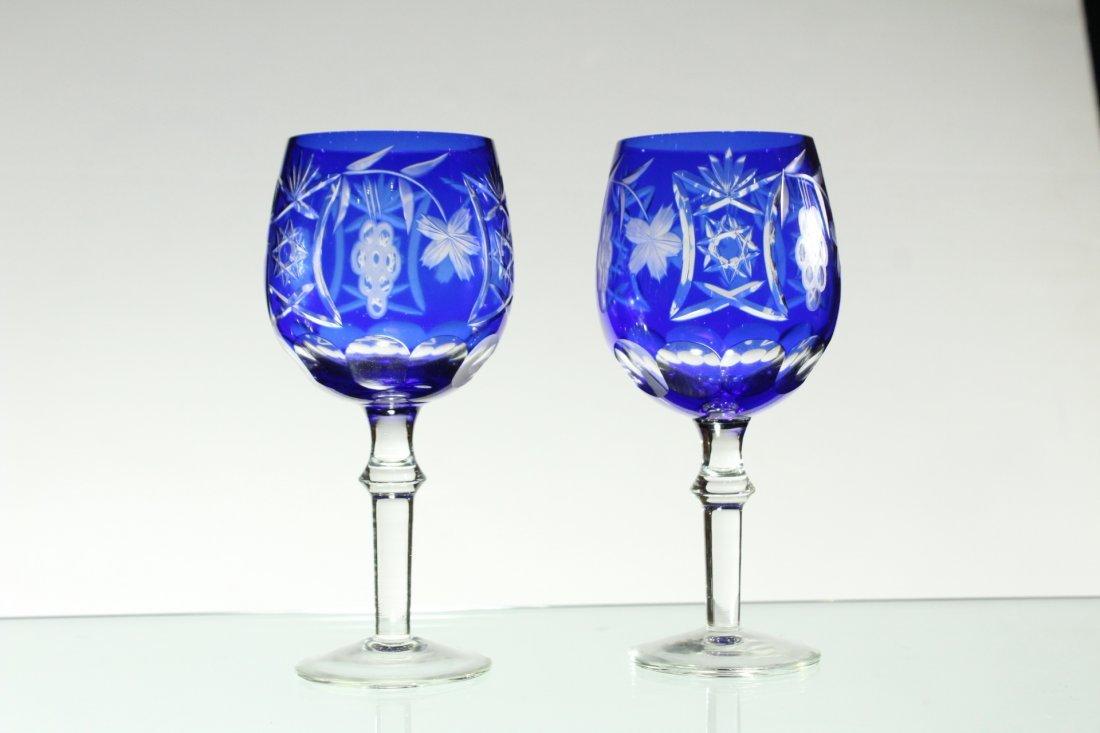 Six [6] COBALT BLUE CUT GLASS STEMWARE Set 4 and 2 - 5