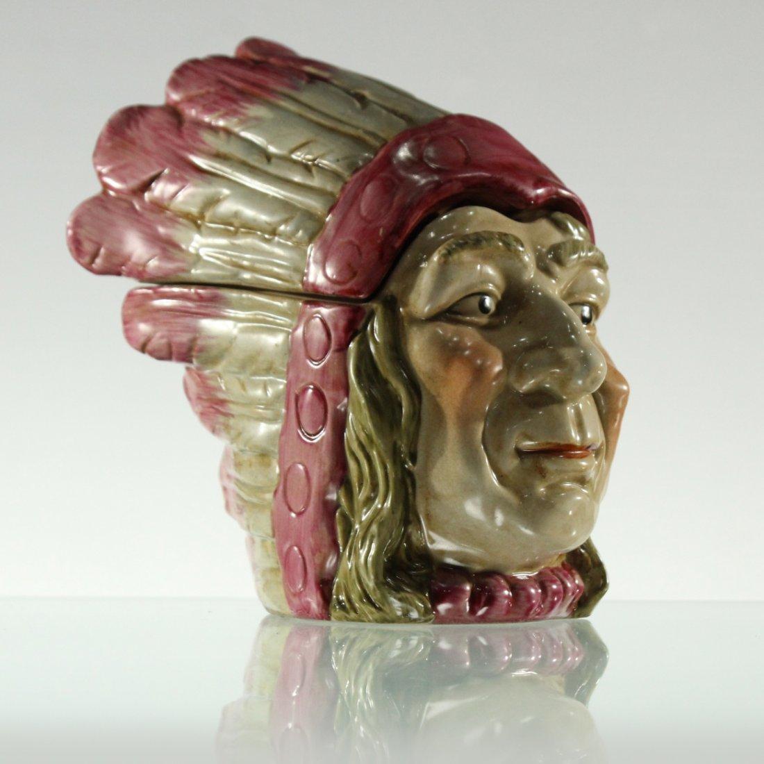 20th C. INDIAN HEAD PORCELAIN COVERED TOBACCO JAR