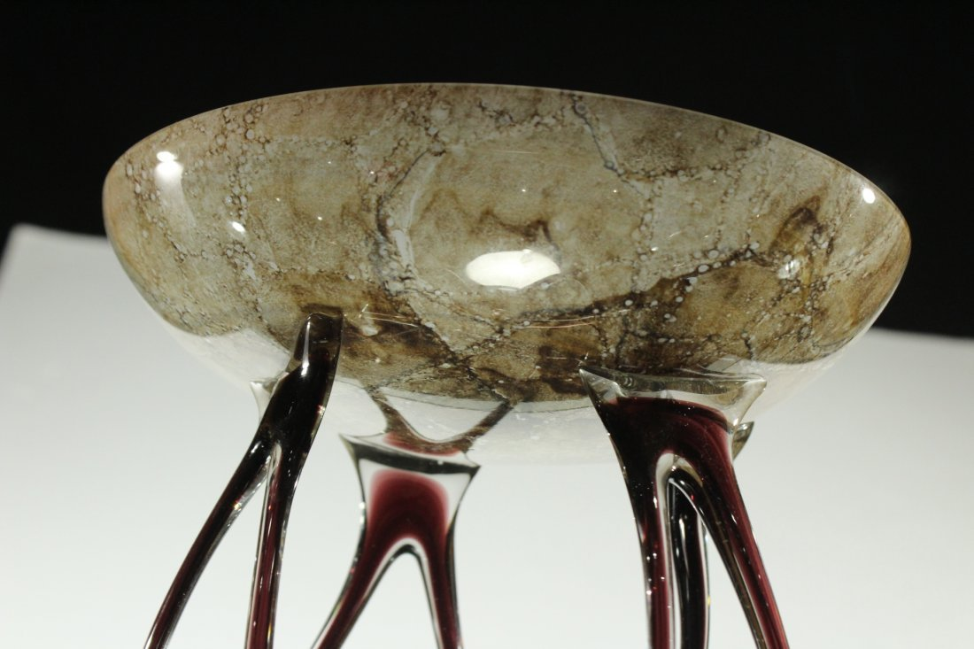 MURANO Italian Art Glass Free Form Tall Center Compote - 3
