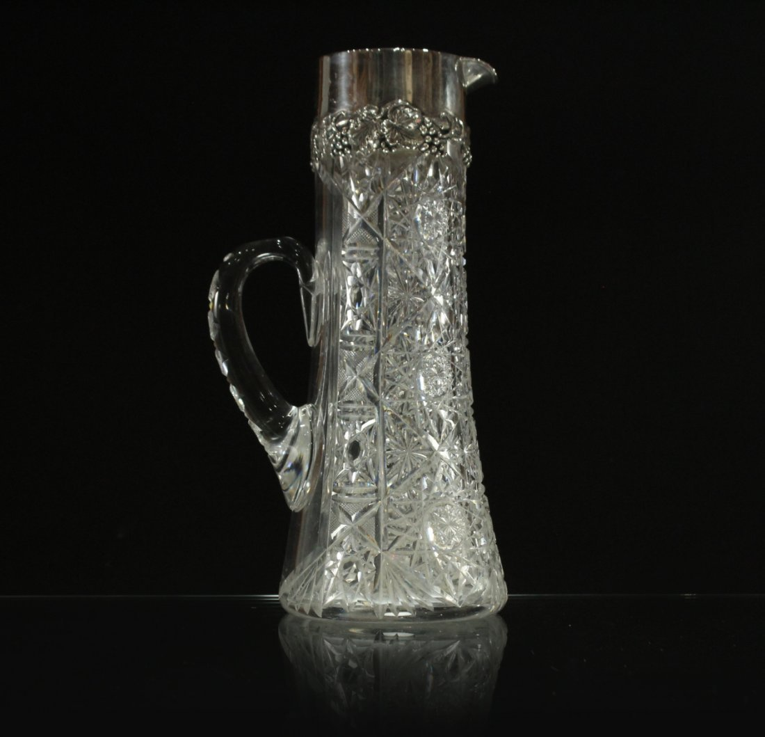 AMERICAN BRILLIANT CUT GLASS WATER PITCHER STERLING TOP