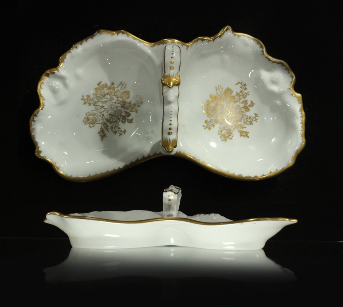 Hand Painted FRANCE DOUBLE DIVIDED PORCELAIN DISH