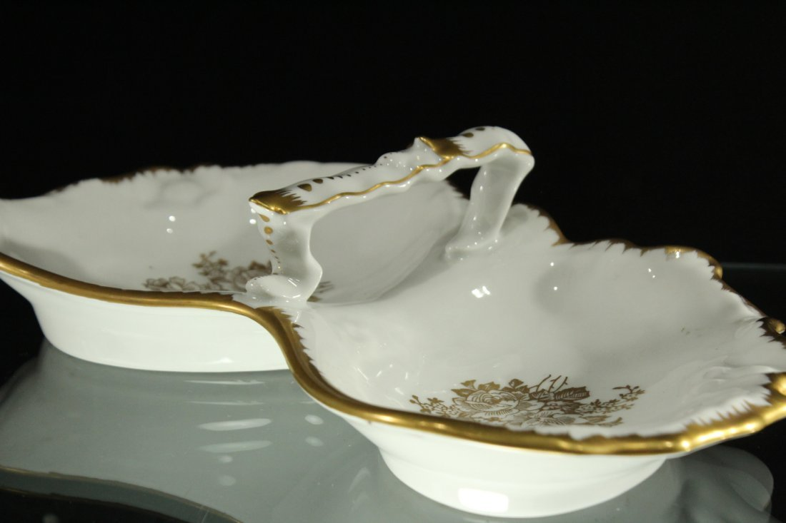 Hand Painted FRANCE DOUBLE DIVIDED PORCELAIN DISH - 2