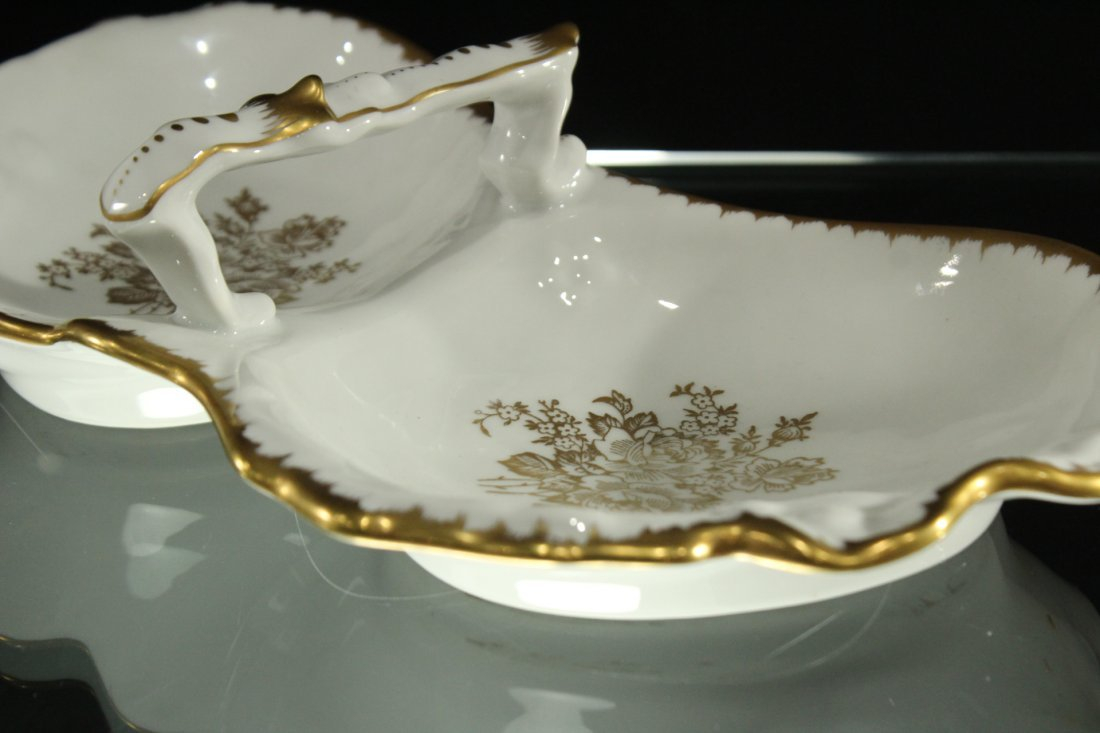 Hand Painted FRANCE DOUBLE DIVIDED PORCELAIN DISH - 3