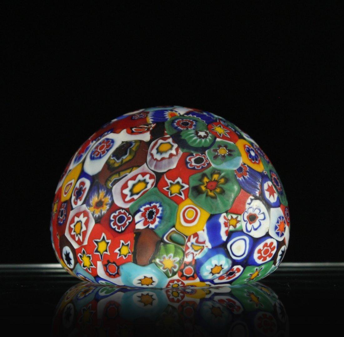 MILLEFIORE ART GLASS PAPERWEIGHT