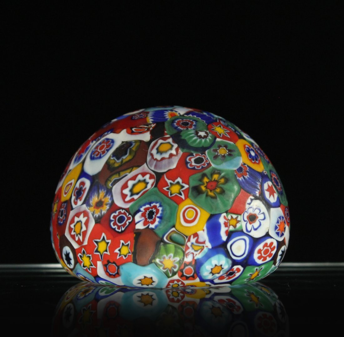 MILLEFIORE ART GLASS PAPERWEIGHT