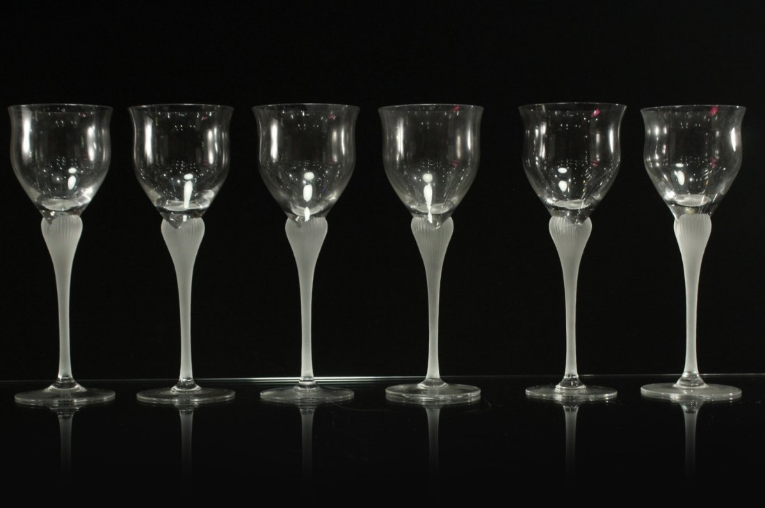 Six [6] CRYSTAL STEMWARE SATIN GLASS FLOWER FORM STEMS
