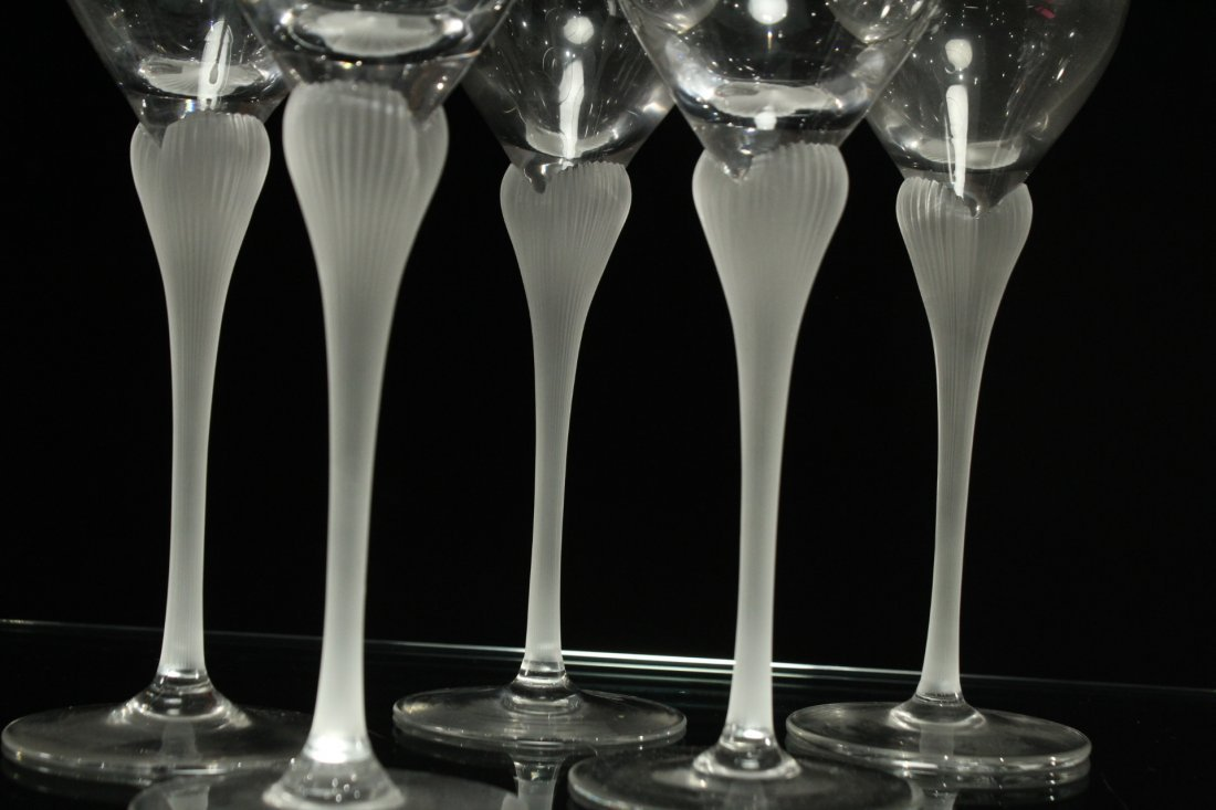 Six [6] CRYSTAL STEMWARE SATIN GLASS FLOWER FORM STEMS - 4