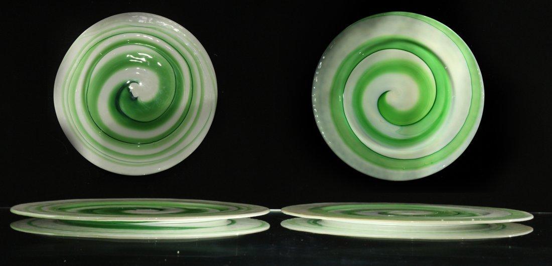 Four [4] ITALIAN ART GLASS SERVING PLATES GREEN SWIRL
