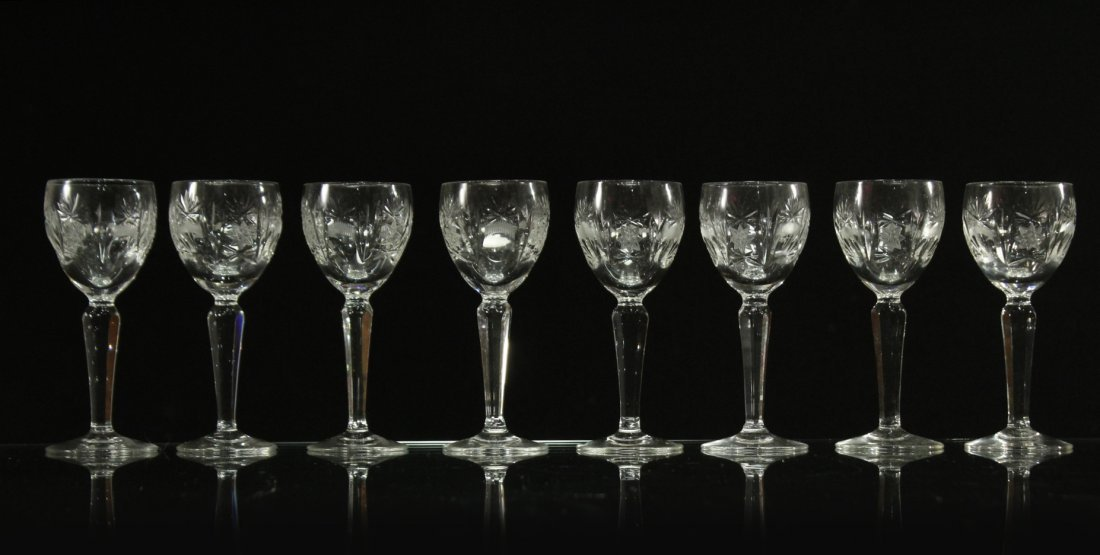 Eight [8] Fine Cut Etched CRYSTAL CORDIAL STEMWARE