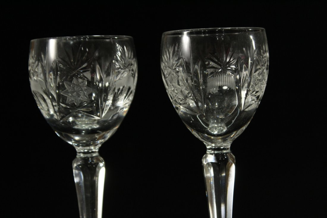 Eight [8] Fine Cut Etched CRYSTAL CORDIAL STEMWARE - 2