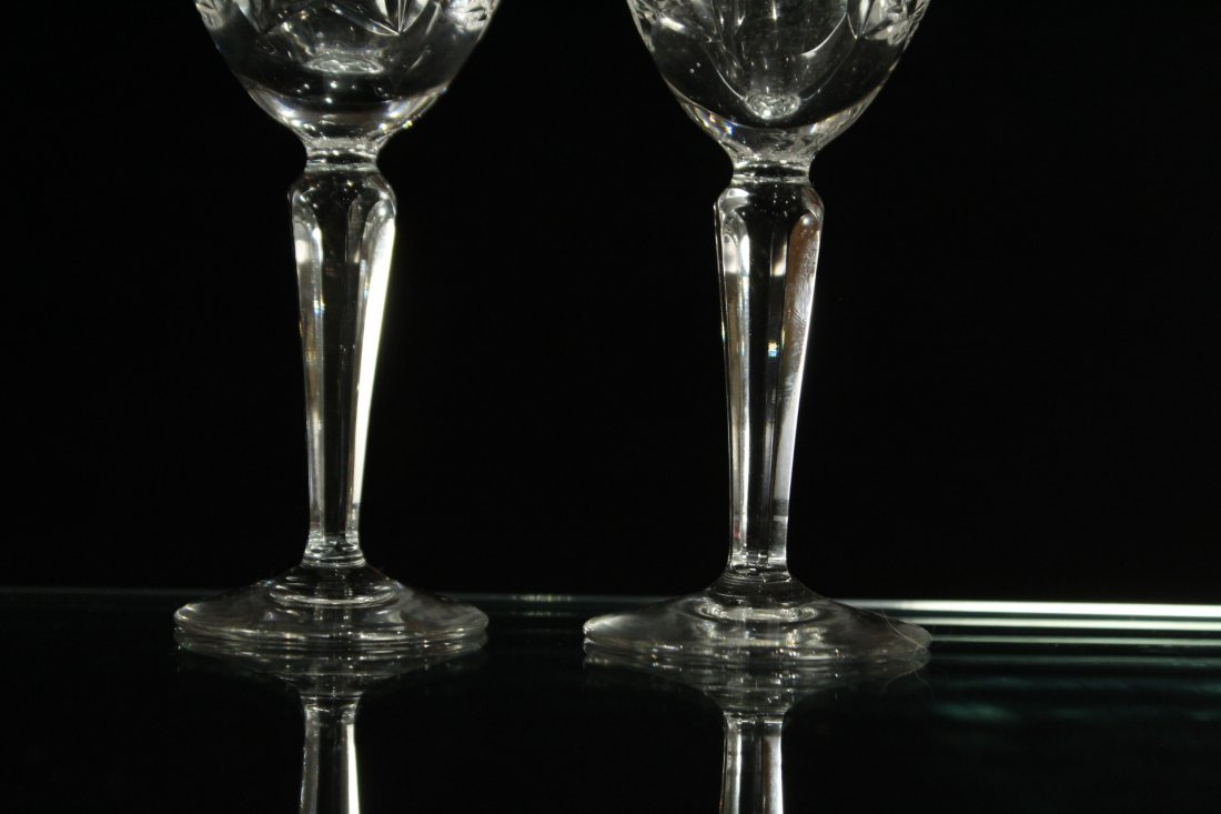 Eight [8] Fine Cut Etched CRYSTAL CORDIAL STEMWARE - 3