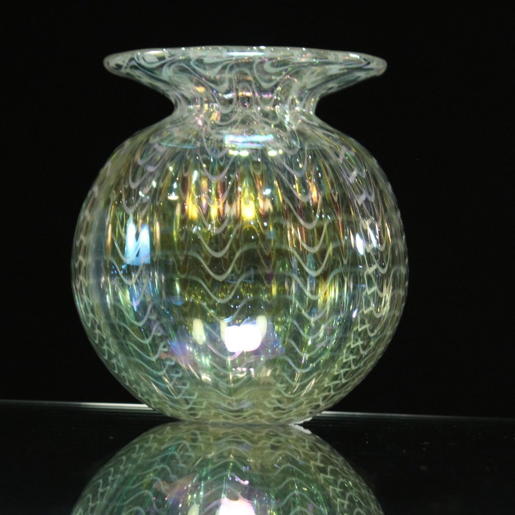 Signed STUDIO ART GLASS VASE  Iridescent With Threading