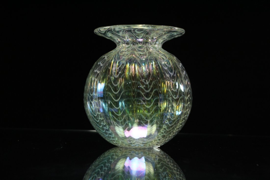 Signed STUDIO ART GLASS VASE  Iridescent With Threading - 2