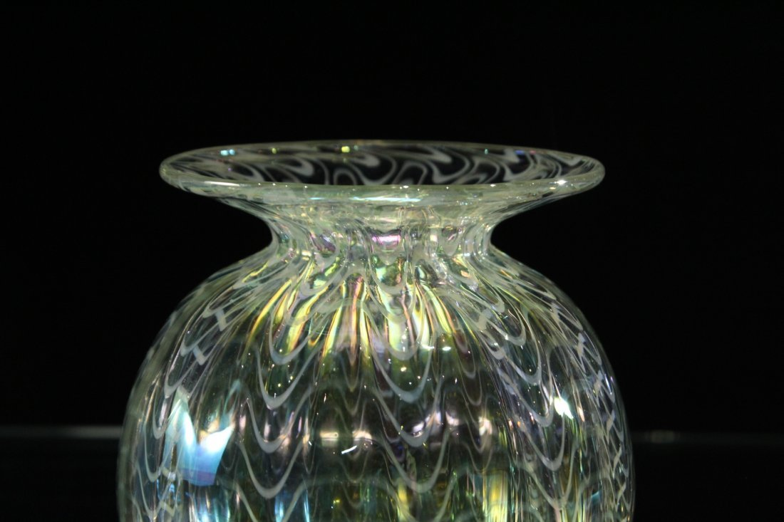 Signed STUDIO ART GLASS VASE  Iridescent With Threading - 3