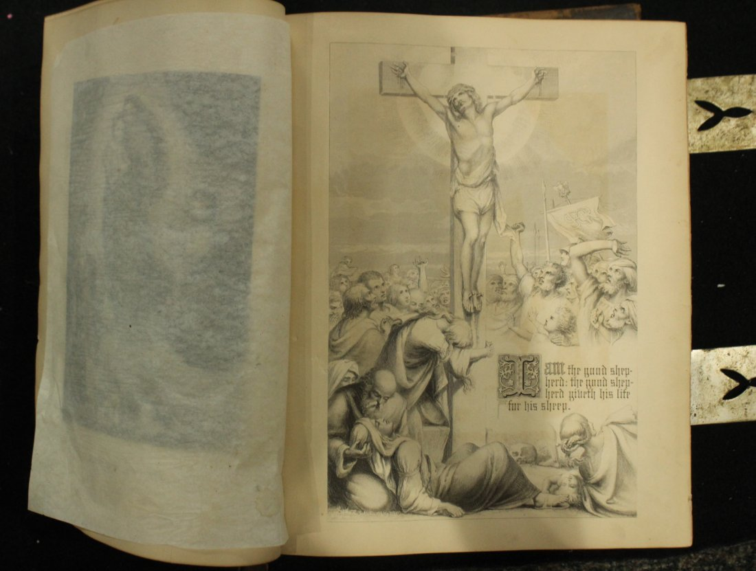 Antique 19th C. HOLY BIBLE - Very Large, Color Plates - 3
