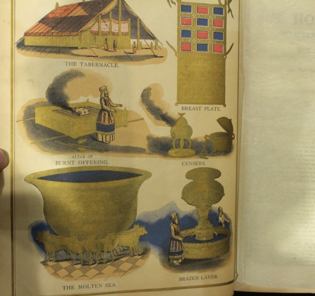 Antique 19th C. HOLY BIBLE - Very Large, Color Plates - 5