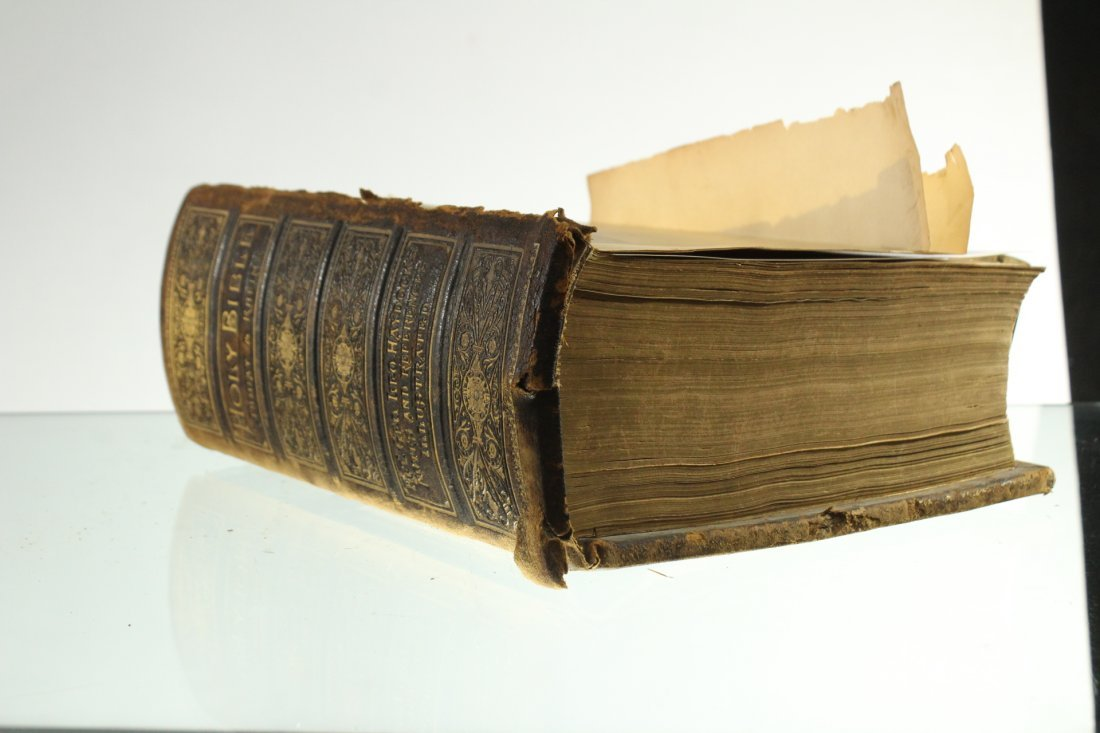 Antique 19th C. HOLY BIBLE - Very Large, Color Plates - 8