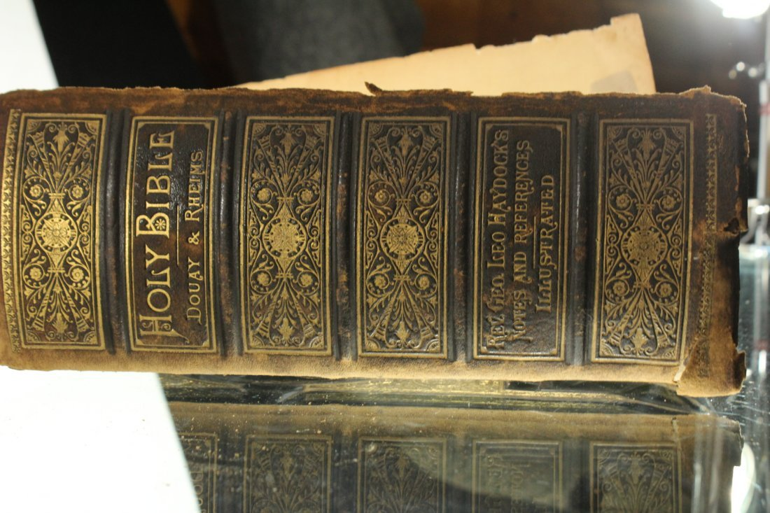 Antique 19th C. HOLY BIBLE - Very Large, Color Plates - 9