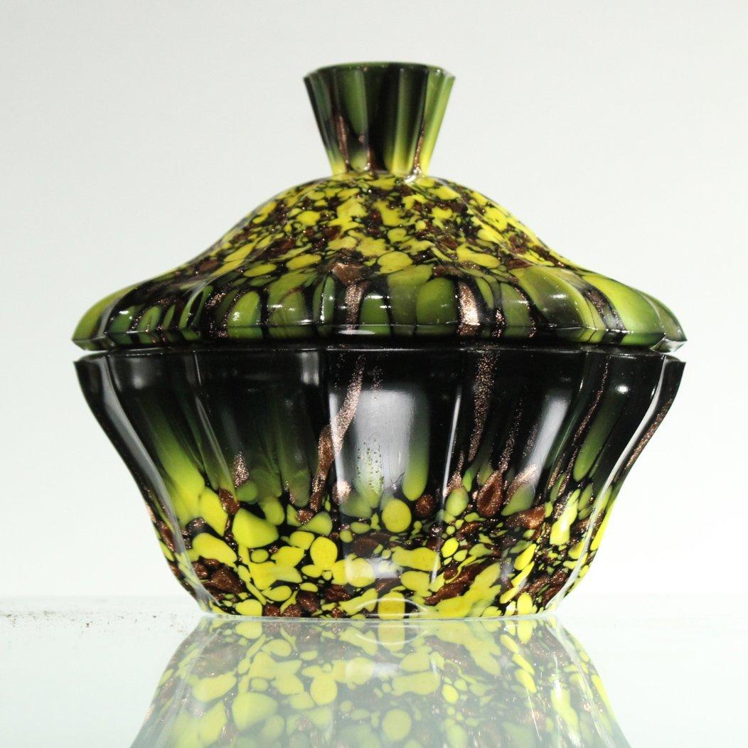 Mid-Century ITALIAN ART GLASS COVERED BOWL