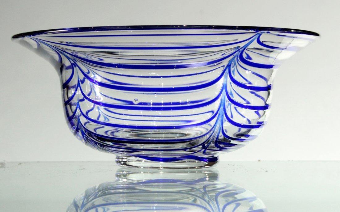 Mid-Century ITALIAN GLASS CENTER BOWL Signed Blue Drape