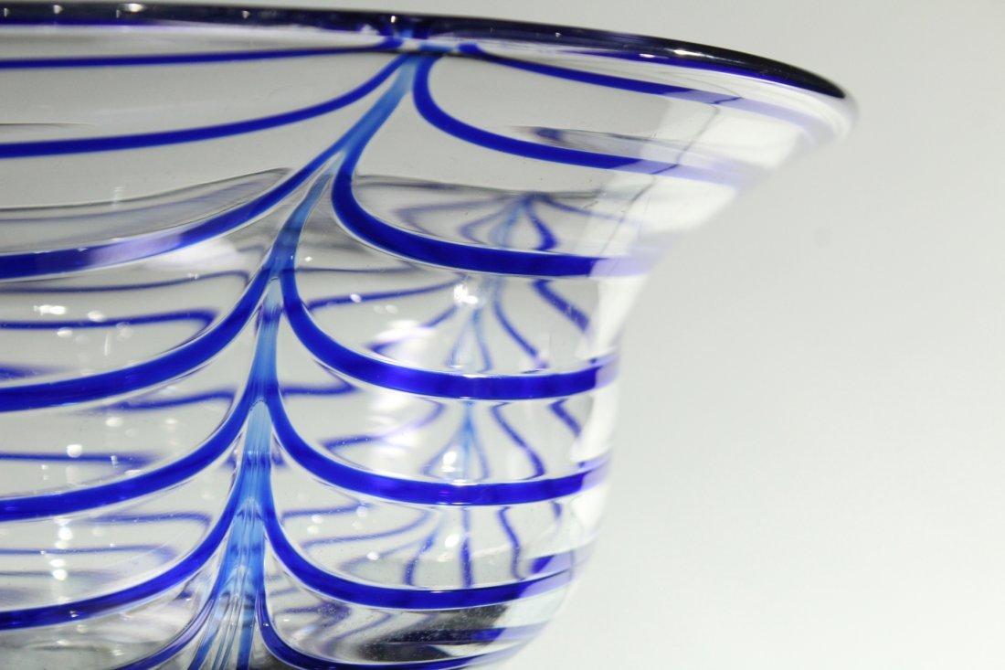 Mid-Century ITALIAN GLASS CENTER BOWL Signed Blue Drape - 2
