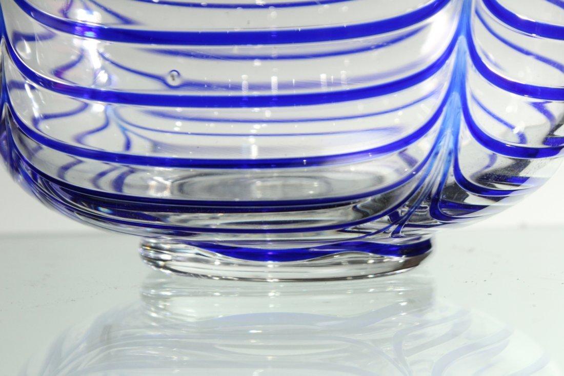 Mid-Century ITALIAN GLASS CENTER BOWL Signed Blue Drape - 3
