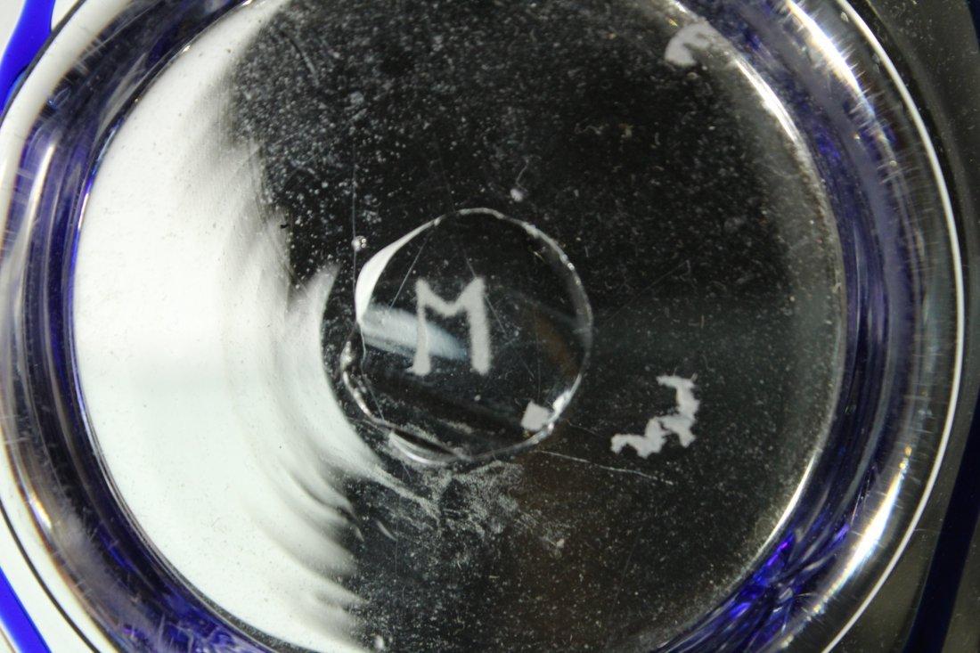Mid-Century ITALIAN GLASS CENTER BOWL Signed Blue Drape - 4