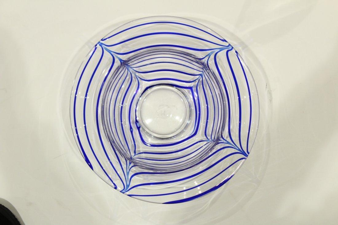 Mid-Century ITALIAN GLASS CENTER BOWL Signed Blue Drape - 5
