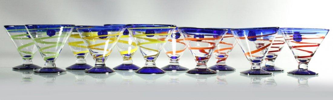 Twelve [12] Mid-Century ART GLASS SHERRIES - Colorful