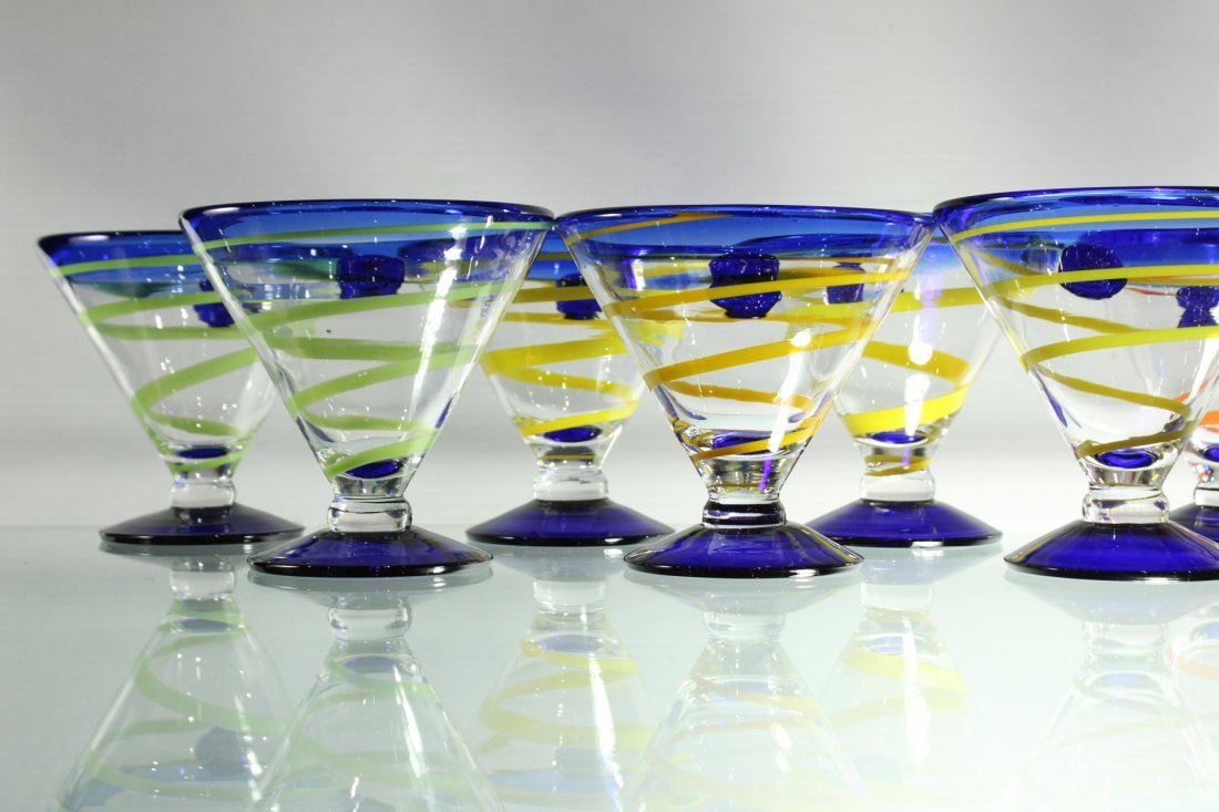 Twelve [12] Mid-Century ART GLASS SHERRIES - Colorful - 2