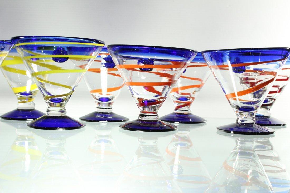 Twelve [12] Mid-Century ART GLASS SHERRIES - Colorful - 3