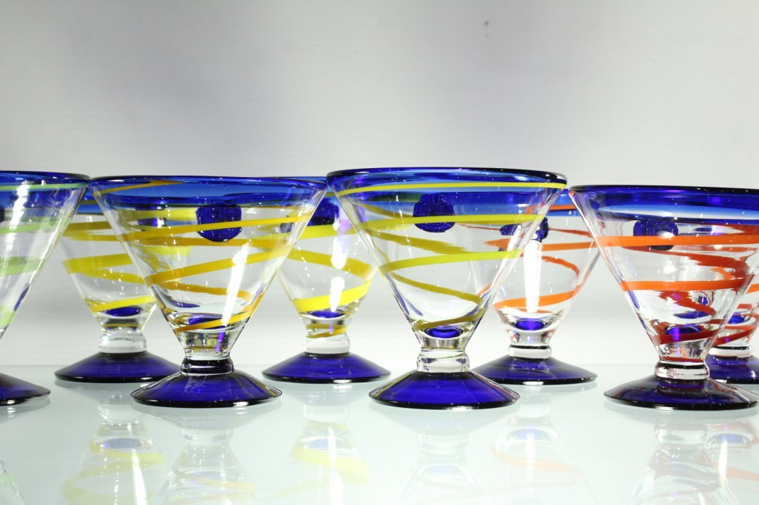 Twelve [12] Mid-Century ART GLASS SHERRIES - Colorful - 4