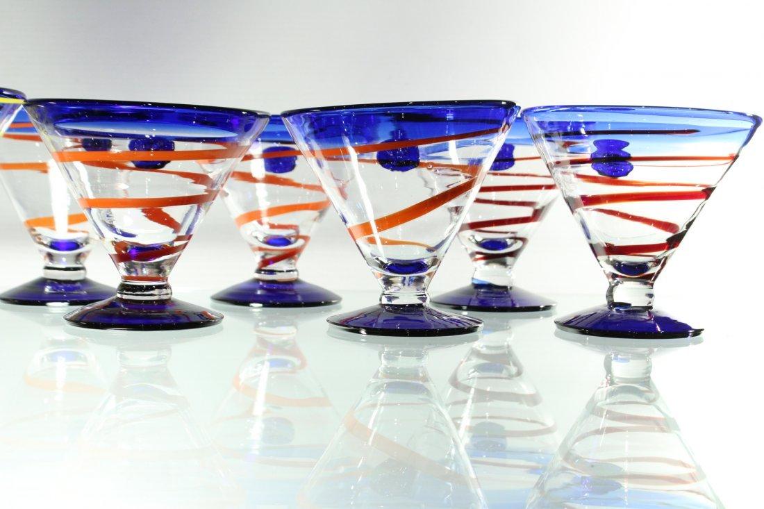 Twelve [12] Mid-Century ART GLASS SHERRIES - Colorful - 5