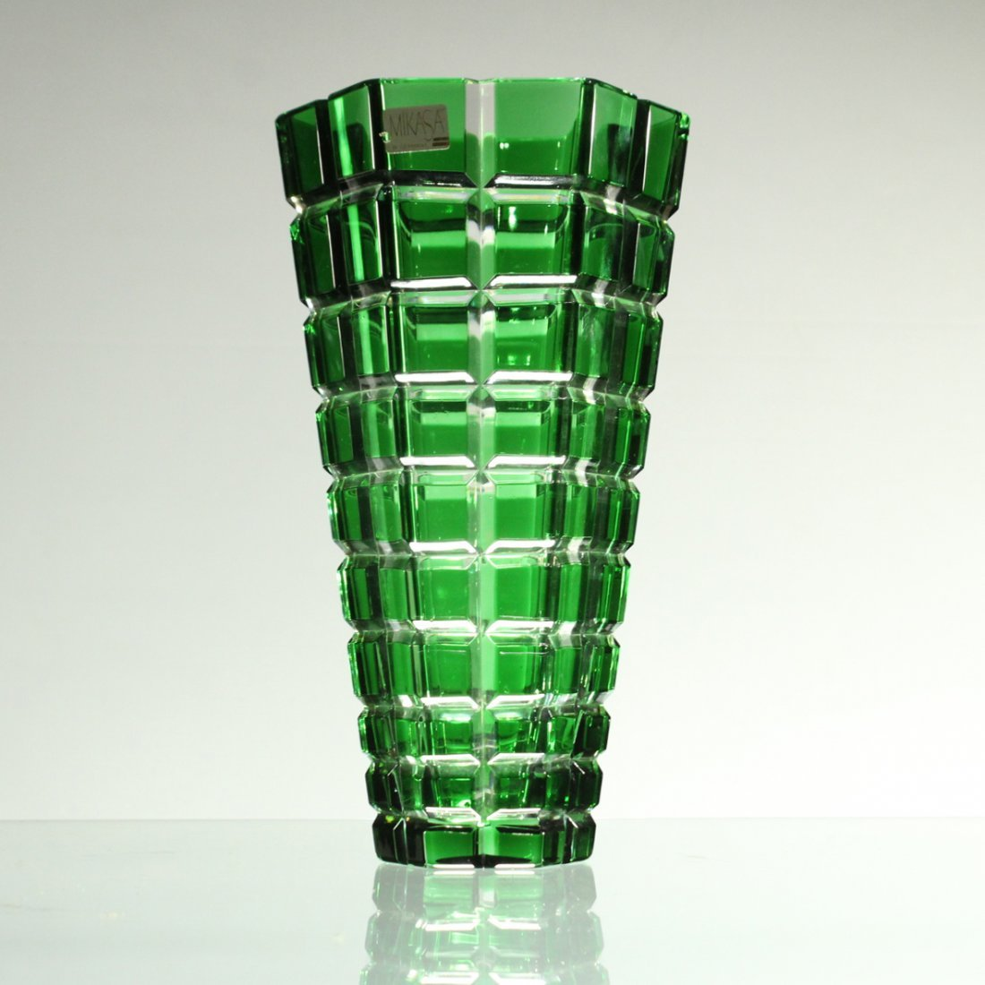 MIKASA W. Germany GREEN FACETED SQUARES TAPERED VASE