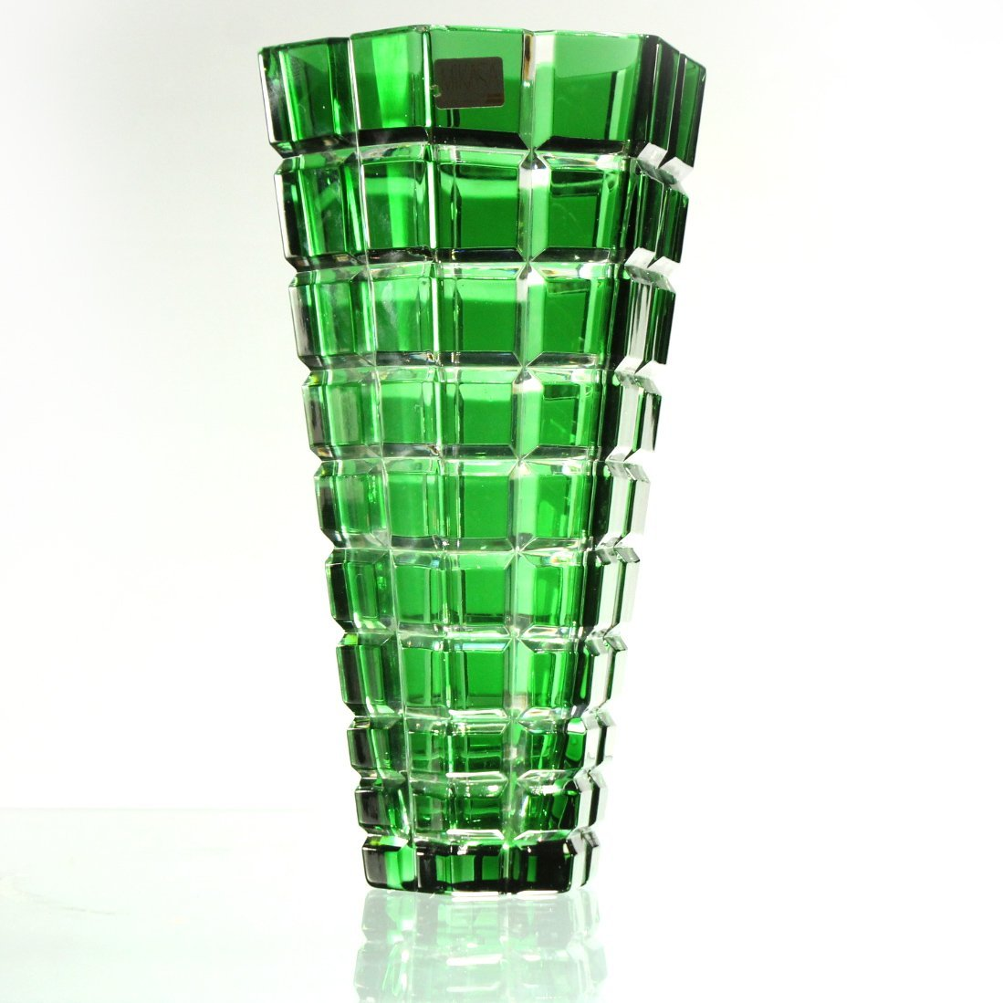 MIKASA W. Germany GREEN FACETED SQUARES TAPERED VASE - 2
