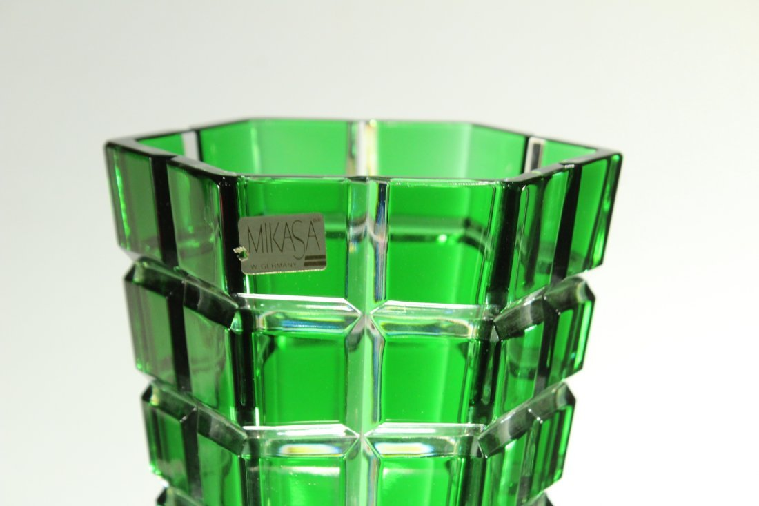 MIKASA W. Germany GREEN FACETED SQUARES TAPERED VASE - 4